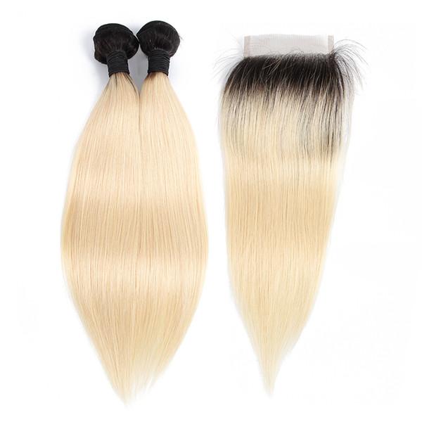 Ombre Paquetes de cabello humano rubio con cierre Extensiones de cabello liso de la Virgen brasileña 1B 613 Dark Roots 2 paquetes con cierre de encaje 4x4
