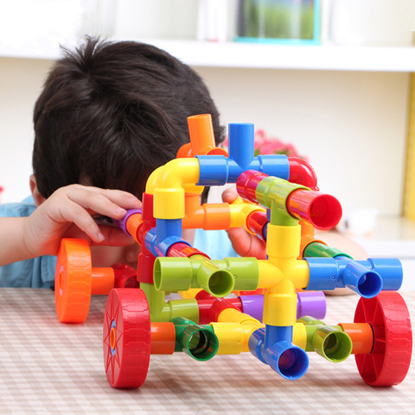 72Pcs Children Marble Water Pipe Plug Match Building Blocks Tunnel Plastic Assemble Blocks For Kids Educational Toys