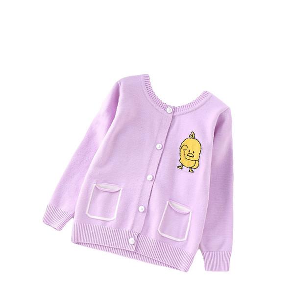 2019 Весна Осень Зима новая девушка свитера с длинным рукавом Детская одежда хлопок трикотажное пальто милый кардиган куртка школьницы