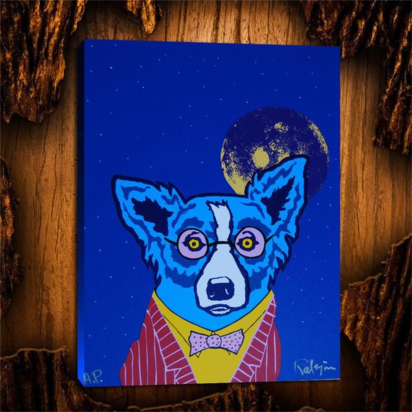 Perro azul que mira la vida a través de gafas de color rosa, lienzos pintados a mano Arte en la pared Pintura al óleo Decoración para el hogar (sin marco / enmarcado) 24X32.