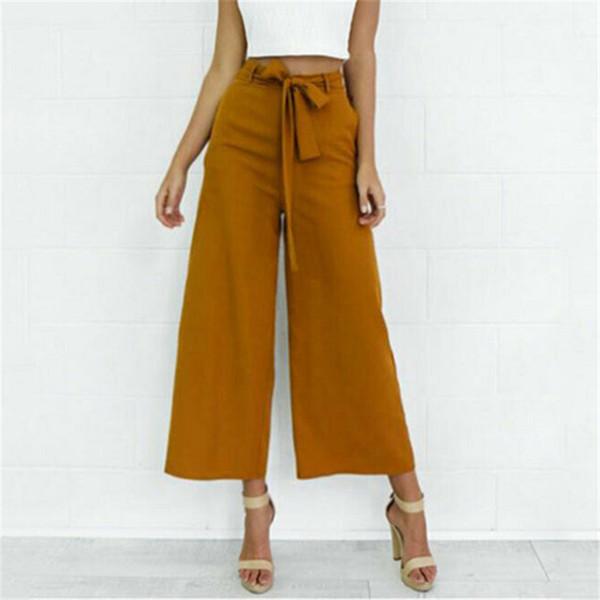 Moda Hot Streetwear Mulheres Laranja elegante Perna Larga Calças de Cintura Alta Gravata Cintura Calças Palazzo OL Calças Compridas Culottes Pant