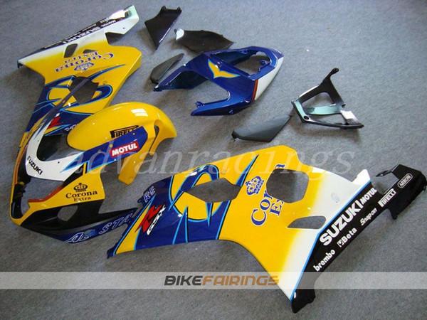 Nueva motocicleta ABS Kits de carenados de motocicletas aptos para Suzuki GSXR600 GSXR750 GSX-R600 R750 04 05 K4 2004 2005 conjunto de carrocería cool blue corona