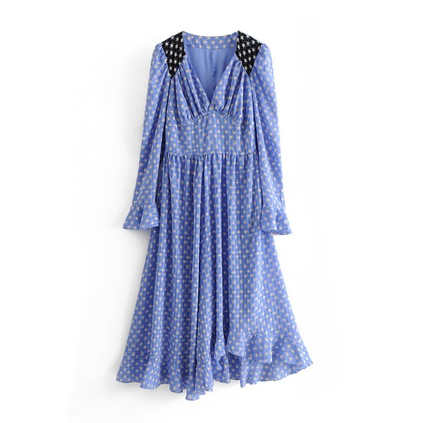Star Pattern Blue Long Dress Empire Waist Ruffled Asymmetric Hem Boho Dresses V-Neck Long Sleeve Women Bohemian beach Dress Summer 2019