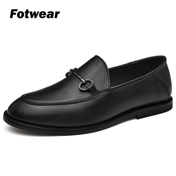 Men real leather shoes High quality Leather loafer Chaussure homme with metal ornament Formal oxford shoes for men wedding dress