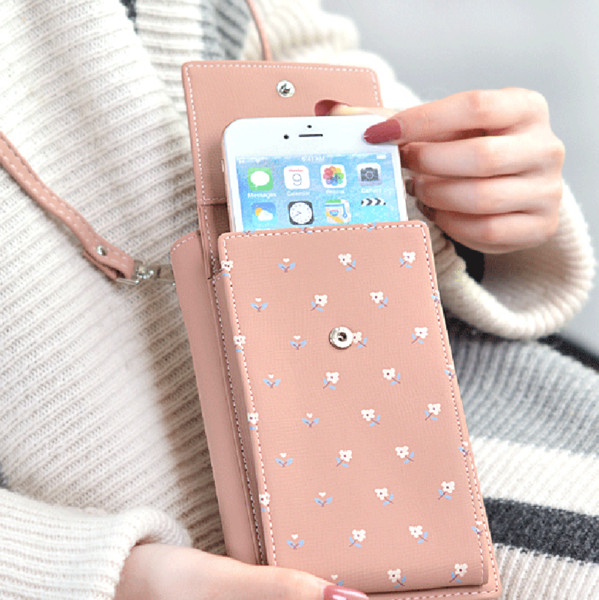 wholesale Universal PU Leather Cell Phone Bag Shoulder Pocket Wallet Pouch Case Neck Strap Fit For 3.5- 5.7 inches Phone