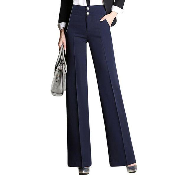 High waist women 2019 fashion office work pants plus size wide leg ladies formal trousers black red female wide leg pants