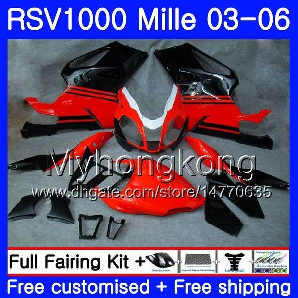 Body For Aprilia RSV 1000R 1000 Red black light RV60 Mille 2003 2004 2005 2006 316HM.32 RSV1000RR RSV1000R RSV1000 R RR 03 04 05 06 Fairings
