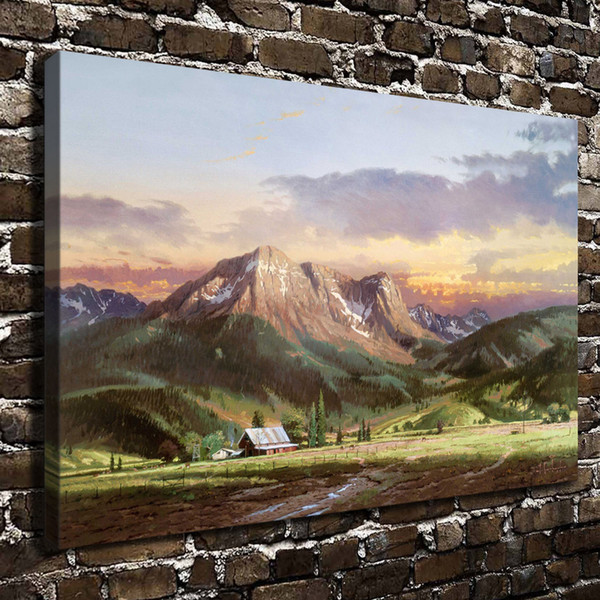 Thomas Kinkade,Dusk In The Valley,1 Pieces Canvas Prints Wall Art Oil Painting Home Decor (Unframed/Framed)