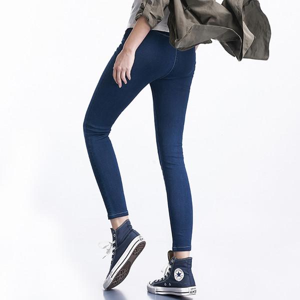 Brand 2019 Plus Size New Fashion Hot Sale 4 Colors With High Waist Leggings Elastic Waist Stretch Denim Skinny Pencil Jeans