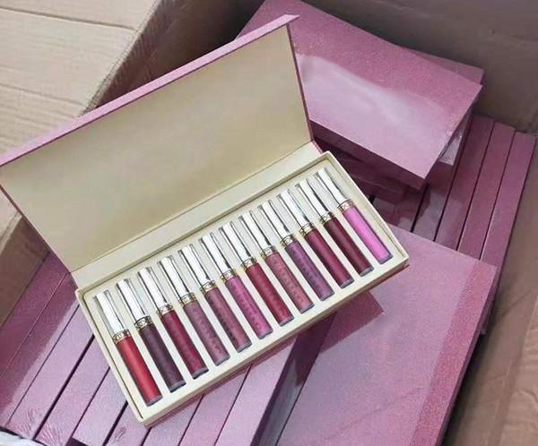 Factory direct dhl new makeup lip lu trou lip glo matte liquid lip tick1 et 12 piece