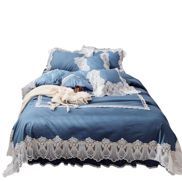Korean Style Home Textile Bedding set Luxury 4pcs Lace Embroidered Princess Duvet Cover Set Bed Sheet Pillowcases Solid Wedding Bedclothes