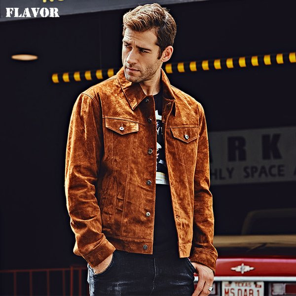 FLAVOR New Men's Genuine Leather Jacket Pigskin Brown Real Leather Jackets Autumn Denim Men Coat