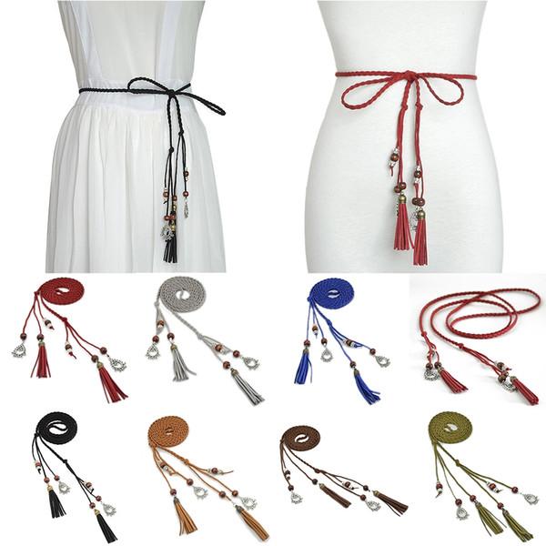 4 Pçs / lote Simples Boêmio Mão-De Malha Beads Franja Cinto Fino Moda Vestido Selvagem Cinto Cintura Multicolor Corda Decoração de Mulher