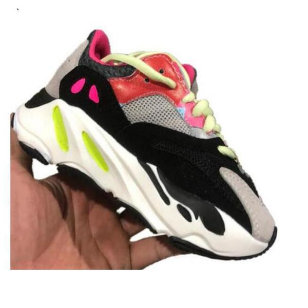 Free Shipping kanye west boys 700 Alvah kids Infants running shoes Girls Sneaker Children Little Azael Black trainers