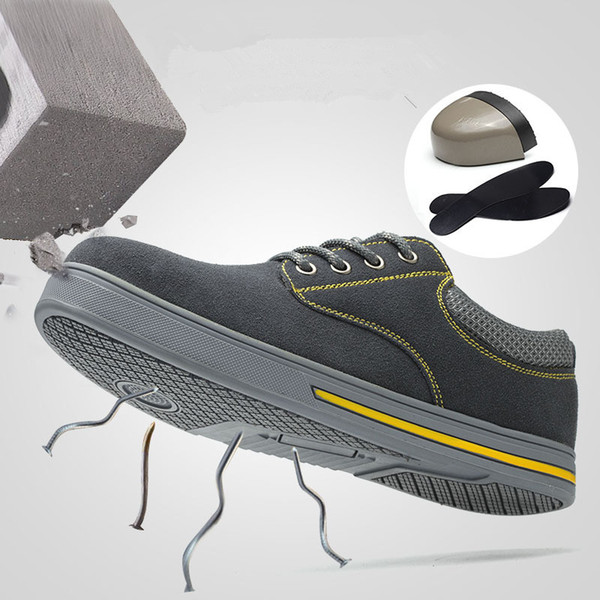 Men Safety Shoes Steel Toe Caps Anti-smashing Security shoes Breathable Boots Anti-slip Working Footwear Men's Safety Work Shoes