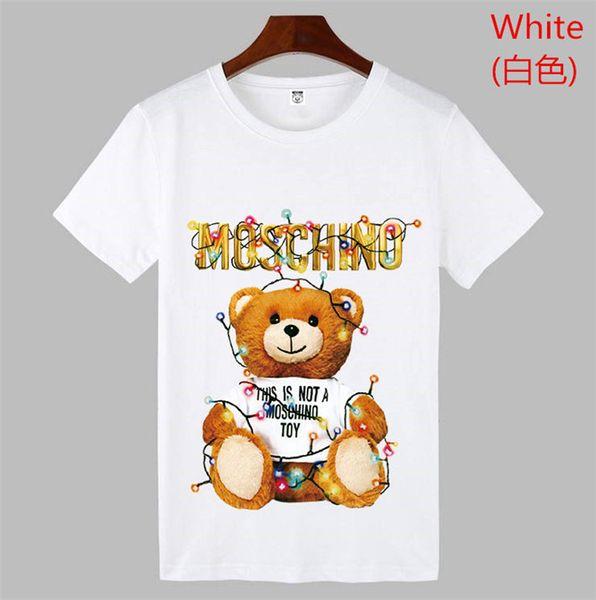 19ss TOPS Yaz Yeni Moschin O Tee Pamuk Kısa Kollu Nefes Erkek Kadın Moschinos Salıncak Ayı Rahat Açık tee Sokak giyim T-Shirt 838