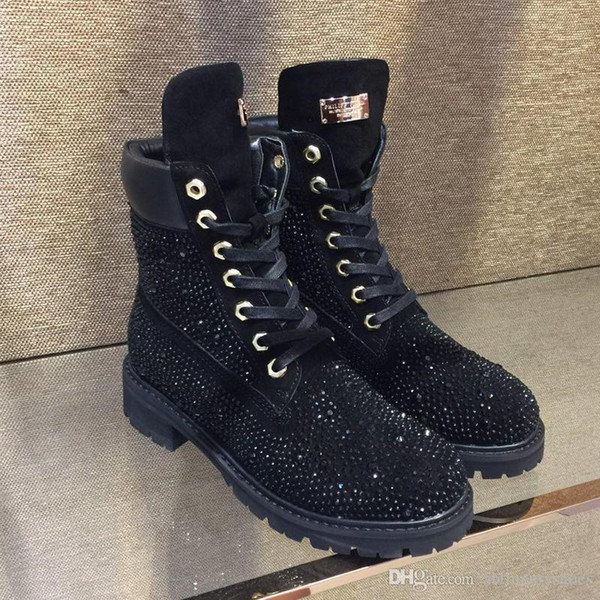 Women Boots Lace-Up Origin Box Luxury Easy Wear Round Toe Snow Boots Winter Ankle Boots Women Shoes Fur Warm Style Bling Design
