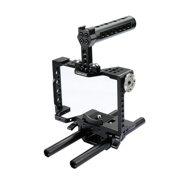 CAMVATE Camera Cage Rig With Top Handle & 15mm Dual Rod For a7 II, a7R II, a7S a7 III, a7R III, a9 Series C1998