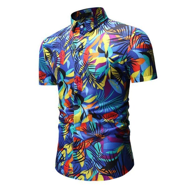 Mens Summer Beach Hawaiian Shirt 2019 Brand Short Sleeve Plus Size Floral Shirts Men Casual Holiday Vacation Clothing Camisas
