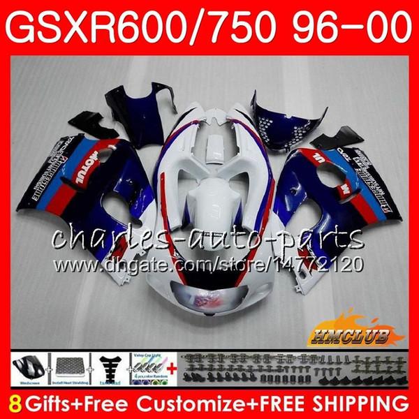 Cuerpo para SUZUKI SRAD GSXR 750 600 GSXR-600 GSXR750 96 97 98 99 00 1HC.35 GSX-R750 GSXR600 1996 1997 1998 1999 2000 azul blanco Carenado