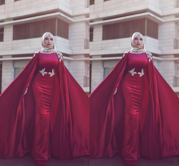 Dark Red Dubai Arabisch Muslim Mermaid Event Abendkleider 2020 Long Jewel Neck mit Capes Abendkleider Abendkleider yousef aljasm