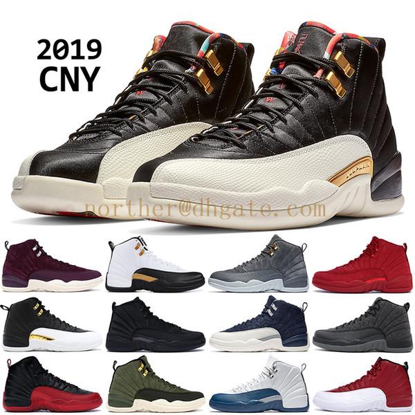 2019 CNY inverno preto 12 12 s homens tênis de basquete XII PRM Bordeaux Nylon OVO preto branco PNSY designer de lã tênis formadores EUA 7-13