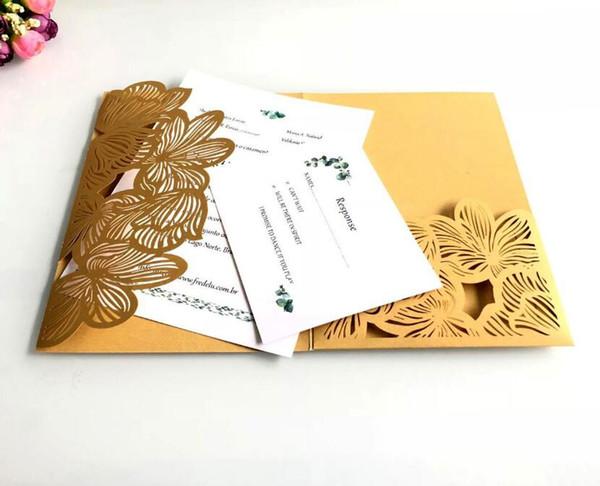 New High Quality Set Laser Cutout Wedding Celebration Greeting Card Lace Pocket Wedding Evening Party Lace Invitation Card Wholesale Birthday Card