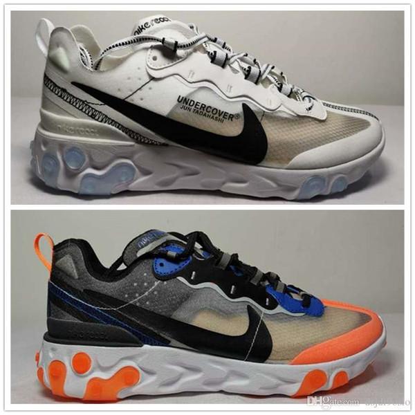 Nuevo react element 55 87 zapatos para correr para hombres mujeres BLANCO ROJO ROJO triple negro Naranja Peel para hombre entrenador zapatillas deportivas corredores