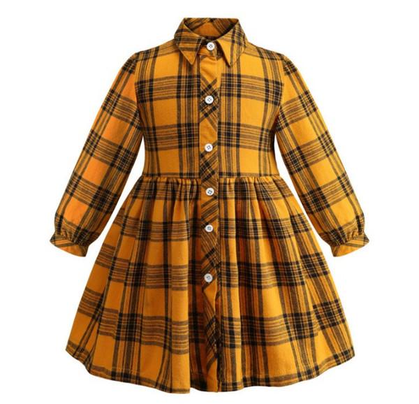 manches européennes et américaines nouvelle longue jupe en flanelle à carreaux chemise robe enfants pur coton vêtements pour enfants