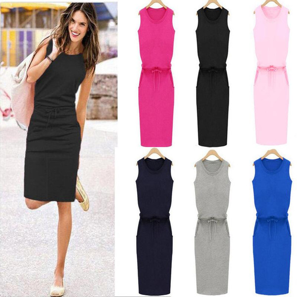 64f9abec0dab1 new Summer Dress Casua Womens Holiday Sleeveless Pockets With Belt Pencil  Sundress Ladies Summer Beach Casual Party Dress