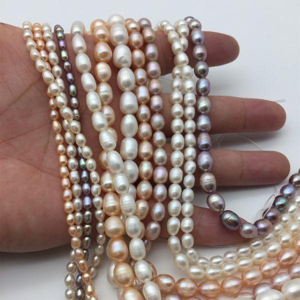 3 colori gioielli di perle 5-6mm collana di perle di riso squisito di alta qualità naturale puro perla dell'acqua dolce ingrosso di gioielli