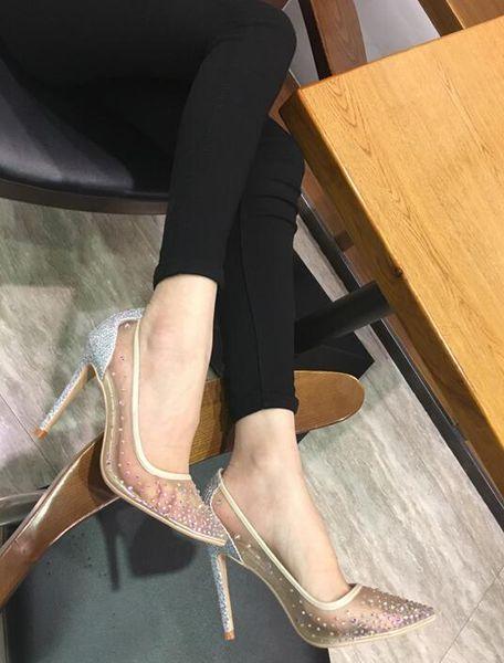See Through Silver Bling Fashion Design Women's Red Bottom High Heel Pumps Summer Rhinestones Party Wedding Stiletto Thin Heels