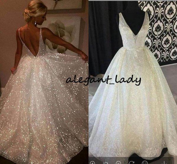 2019 sparkly Payetli Gelinlik Modelleri Backless Robe De Soiree Spagetti Sapanlar Uzun Parti Abiye Abendkleider Derin V Boyun Akşam parti Elbise