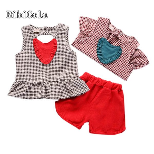 good quality Summer Baby Girls Clothes Set Cotton Heart-shaped lattice T-shirts+Shorts 2pcs Infant Girls Sports Suit Girls Clothing