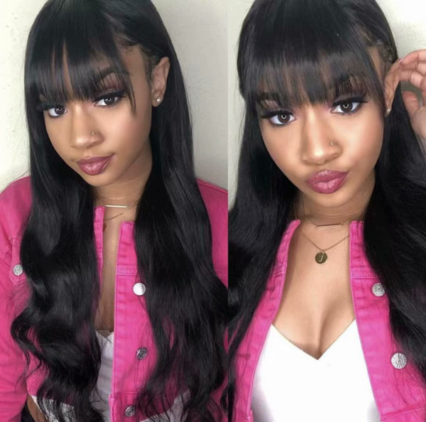 Human Hair Wig With Bangs For Black Women With Baby Hair Pre Plucked Virgin Brazilian Glueless Long Body Wave Full Lace Wigs