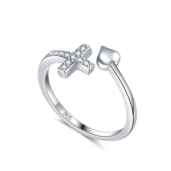 Einstellbare New Design Kreuz-Ring-Frauen-Körper-925 Sterlingsilber-Charme-Herz-geformte Ring Hochzeit Schmuck Valentinstag-Geschenk