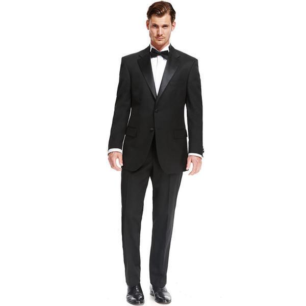 Custom Made New Style Fashion Black 2 Piece Mens Groom Tuxedo Wedding Suits Groomsman Tailcoats Men Suits (Jacket+Pants) Z621