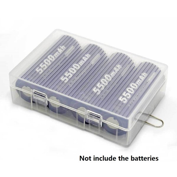 26650 Battery Case Holder Box with hook For 4 X 26650 Batteries Transparent Hard Plastic Case 26650 battery storage boxes Organizer cover