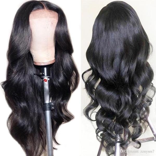Peluca brasileña del cordón del pelo humano de la Virgen de Remy peluca de pelo humano recto profundamente rizado onda del cuerpo de la onda floja pelucas para la mujer Negro