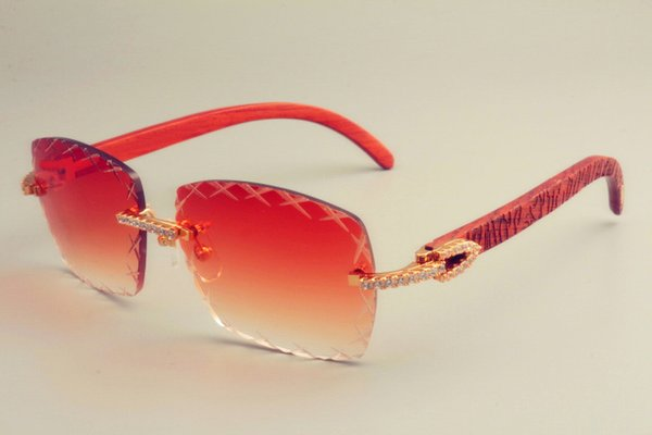 2019 yeni sıcak satış gravür lens 8300177 güneş gözlüğü moda küçük elmas güneşlik ayna doğal oyma ahşap güneş gözlüğü unisex