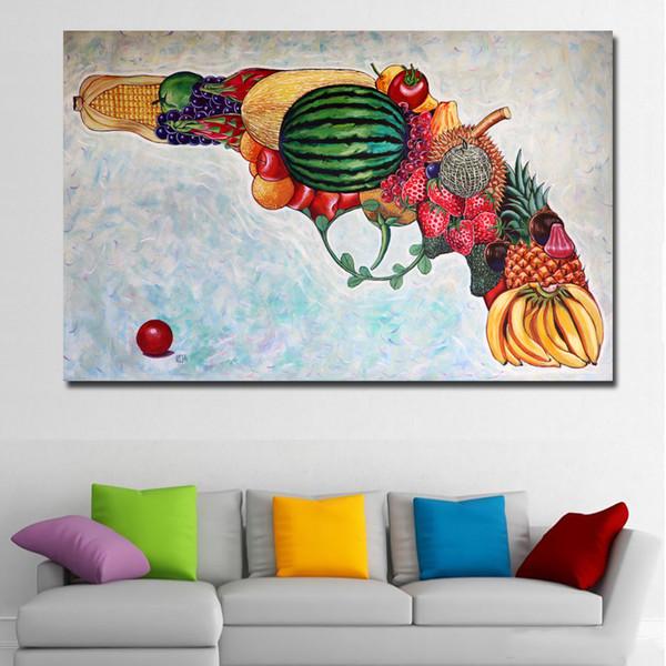 Acheter 1 Panneau Abstrait Art Gun être Fait De Fruits Peinture Sur Toile Modulaire Peinture Mur Art Affiche Affiche Pour Salon Maison Pas Encadré De