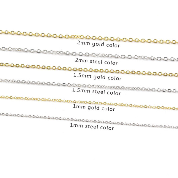 5pcs/lot 316L Stainless Steel 45cm Stainless Steel Link Chain Necklace Gold Silver Tone Fashion Cable Chains Necklace Wholesale