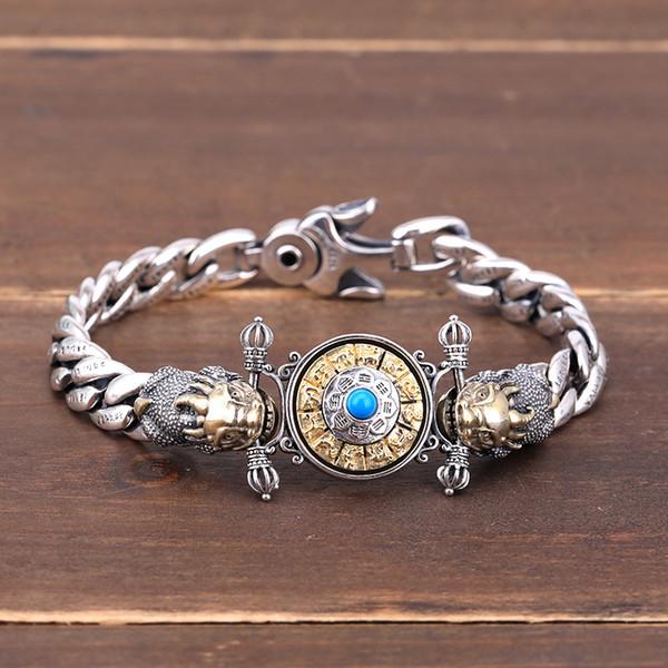 Transferência de sorte pulseira dos homens 925 sterling silver retro diamantes personalidade homens jóias de prata KKA4800