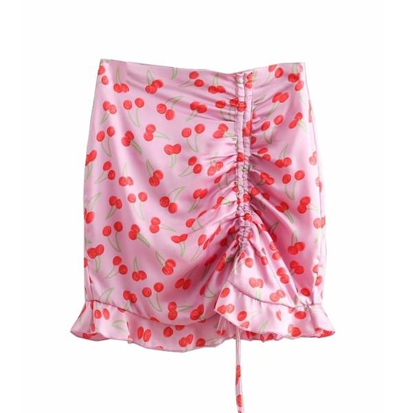 Minigonna a pieghe con stampa ciliegia dolce donna Minigonna Faldas Mujer Donna Vita alta Posteriore Cerniera Gonne a balze chic Qun246 MX190729