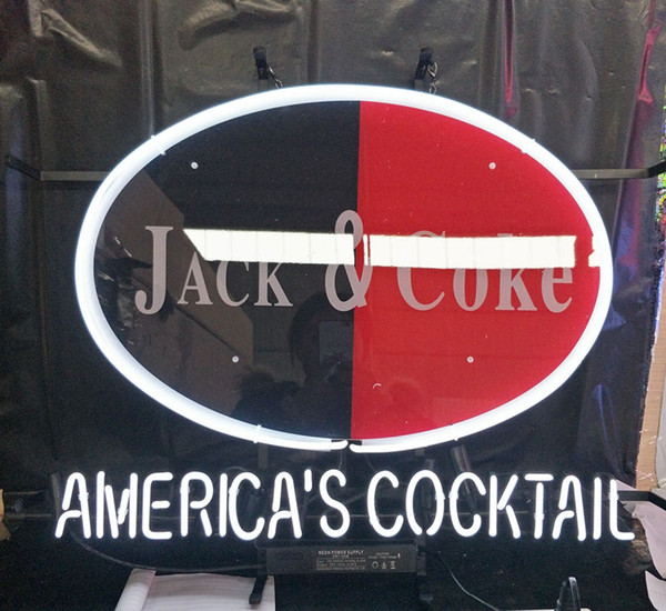 AMERICA'S COCKTAIL Led Glass Tube Neon Signs Lamp Lights Advertising Display Bar Home Decoration Sign Metal Frame 17'' 20'' 24'' 30''