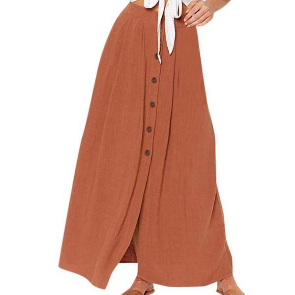 Casual Longue Jupe Femmes Mode Solide Bouton Avant Fourche D'ouverture Jupes D'été Taille Élastique Grand Ourlet De Vacances Jupe De Plage Jupe