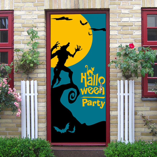 2Pcs/Set Newest Happy Halloween Scary Horror Wolf Poster Door Sticker Painting Wallpaper Wall Sticker Party Bedroom Home Decor Gifts