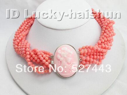 Prett Lovely женская Свадьба Оптовая бесплатная доставка 10Stds 100% натуральный розовый коралл ожерелье камея застежка