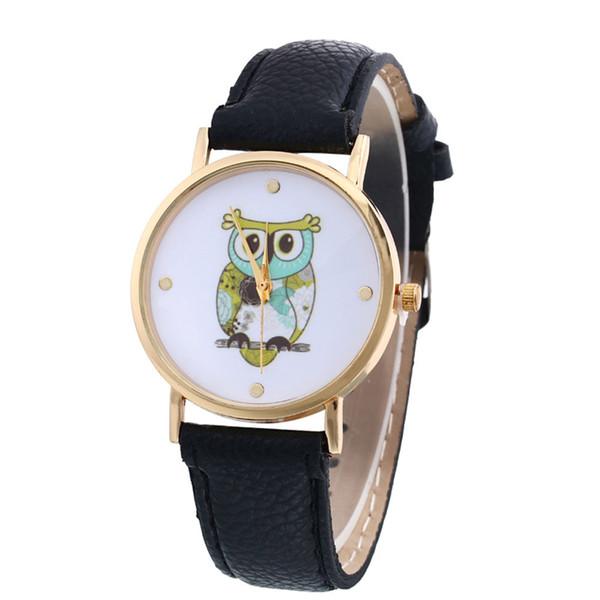 New Owl Print Dial Fashion Watches Women Classic Clock Gift Leather Strap Bracelet Watches Ladies Quartz Watch #W