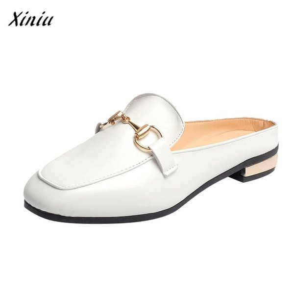 Women Comfortable Cheap Casual Ladies Solid Square Toe Flat Heel Casual Loafers Shoes Single Shoes Zapatillas Mujer